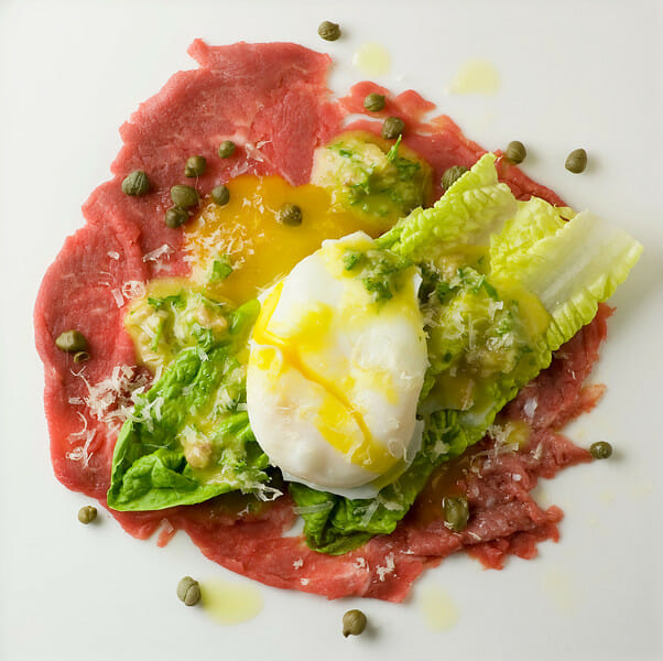 Filet Mignon Carpaccio With Mini Caesar Salad And Poached ...