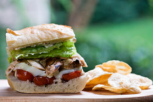 Chicken and Brie Sandwich with Pan-Roasted Cherry Tomatoes