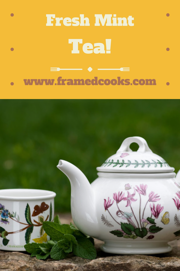 Mint tea made with fresh mint and hot water, in your teacup in five minutes!