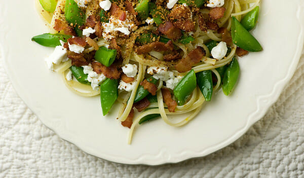 Linguine with Bacon, Goat Cheese and Sugar Snap Peas