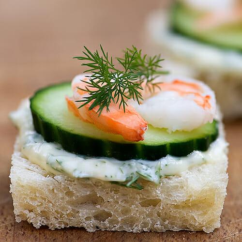 Mini Cucumber Caterpillars Recipe: Shrimp, Brie And Cucumber Sandwiches