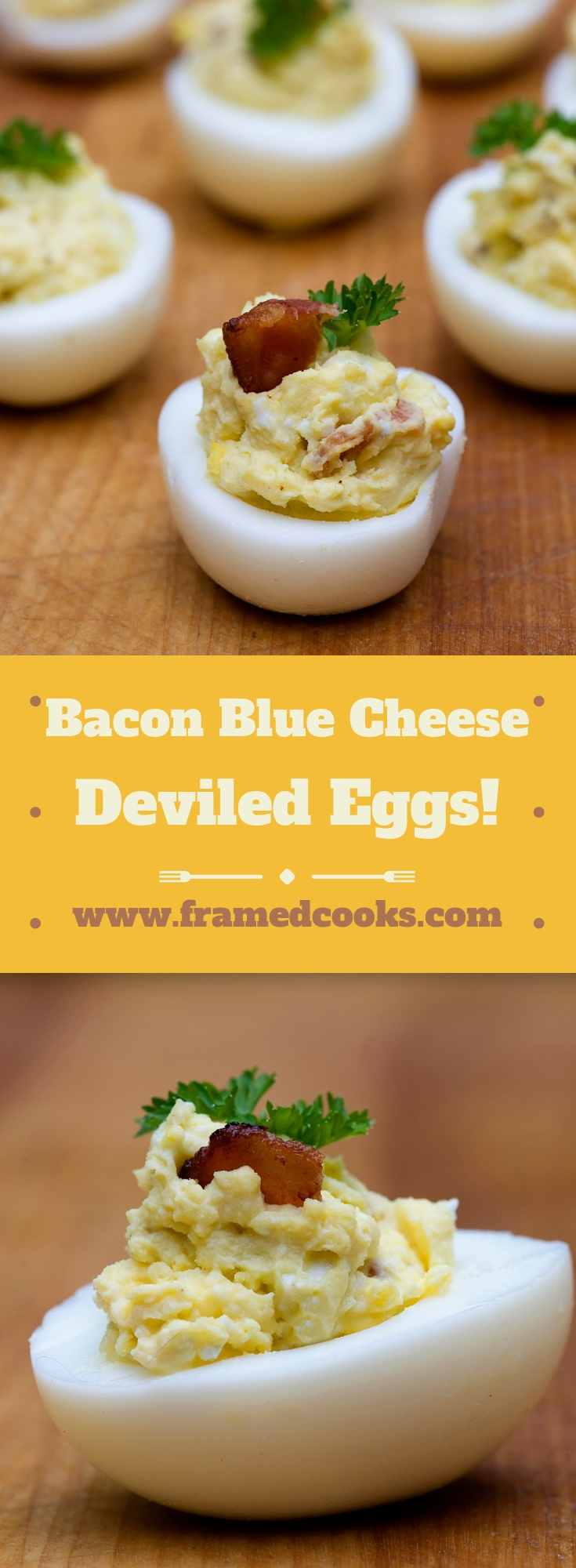Add some bacon and blue cheese to your next batch of deviled eggs to make them positively heavenly! Bacon blue cheese deviled eggs - the best!