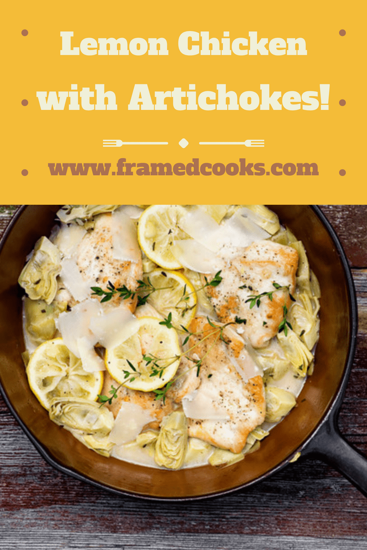 This quick one pot chicken recipe blends lemon, artichokes and fresh thyme into a fresh and easy dinner. Lemon chicken with artichokes for the easy delicious supper win!