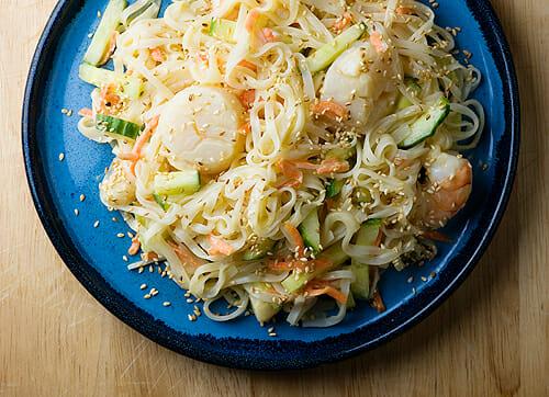 Chilled Seafood Pasta Salad with Ginger Yogurt Dressing
