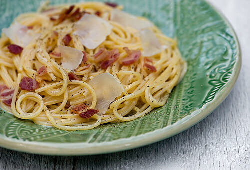White Wine Spaghetti with Bacon and Parmesan