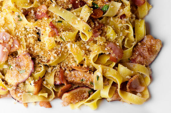 Fettuccine with Figs, Rosemary and Bacon - Framed Cooks