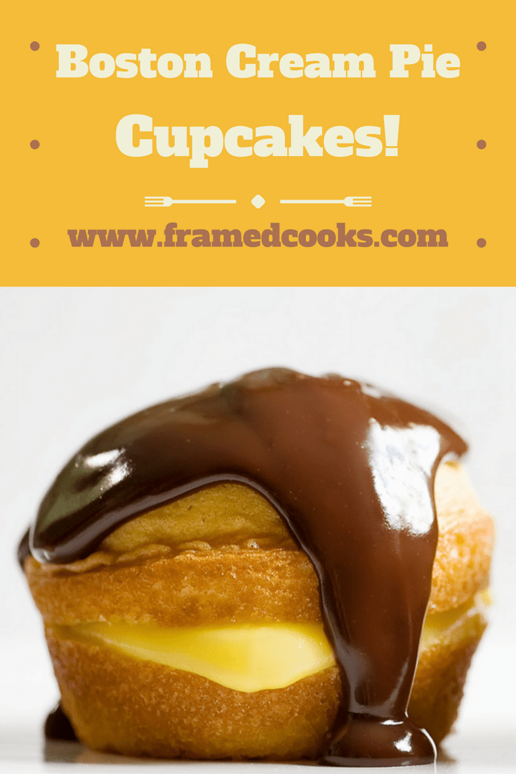 All the wonderfulness of traditional Boston Cream Pie, but in cupcake form! Make this easy recipe for Boston Cream Pie Cupcakes for someone you love.