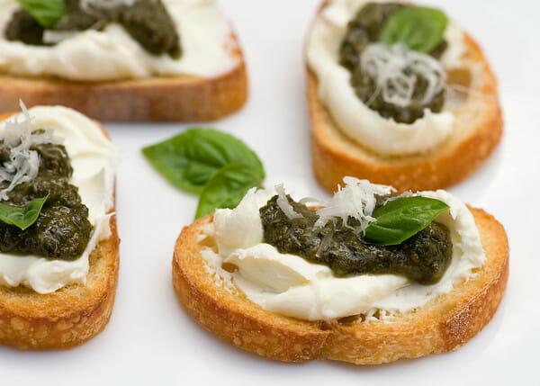 Pesto Cheese Crostini - Framed Cooks
