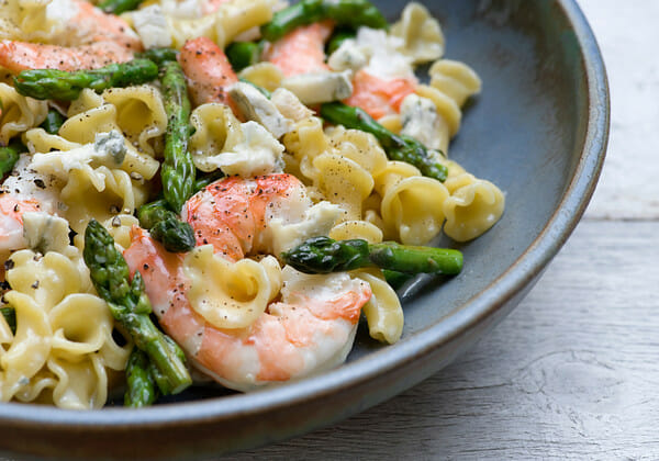 Warm Shrimp and Blue Cheese Pasta Salad - Framed Cooks