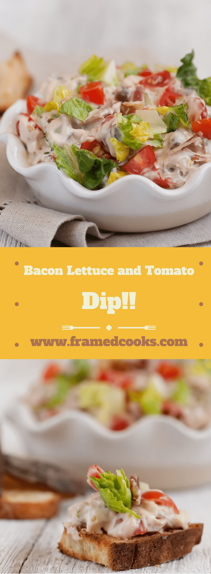 This fast and hearty dip combines all the elements of your favorite bacon lettuce and tomato sandwich in easy scoopable and spreadable form!