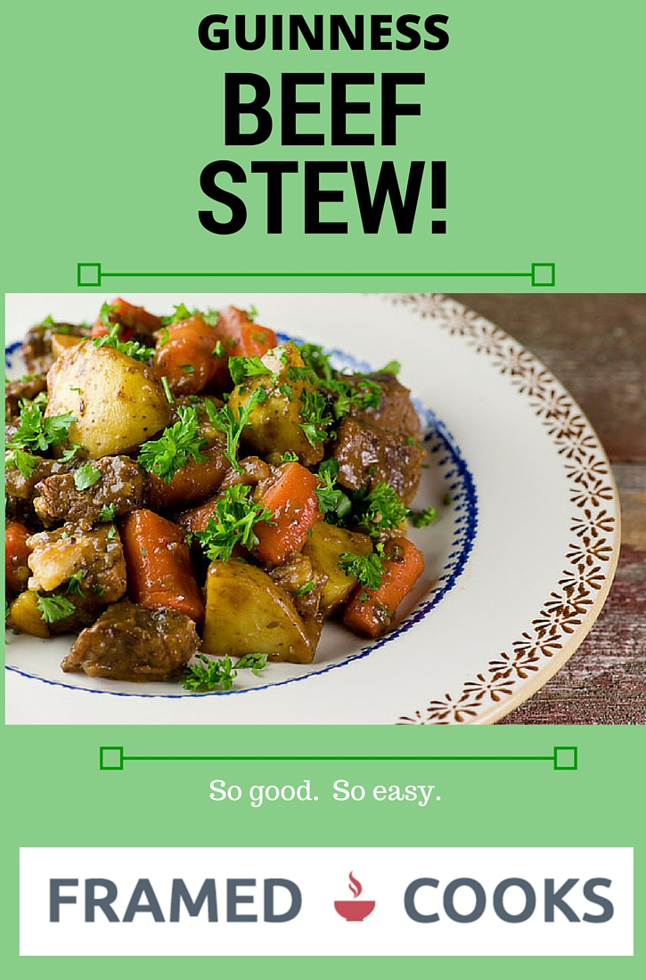Beef stew gets a touch of the Irish when it is slowly simmered in Guinness in this easy and delicious recipe!