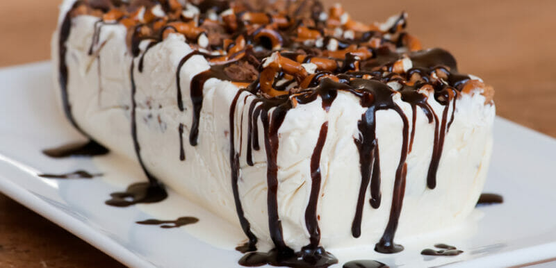 Peanut Butter Cup and Pretzel Ice Cream Cake