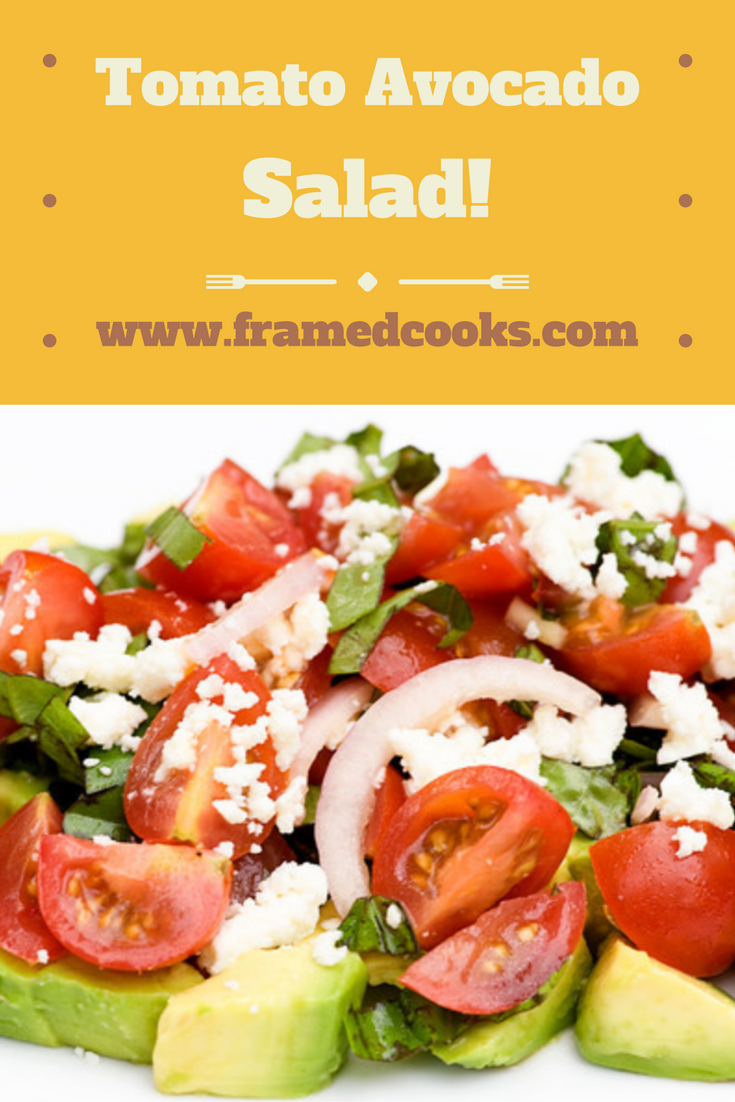 Tomatoes, avocados, onions and cheese all team up for the perfect summertime salad.  Tomato avocado salad days, here we come!