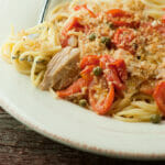 Tuna Pasta with Tomatoes, Capers and Olive Oil Bread Crumbs
