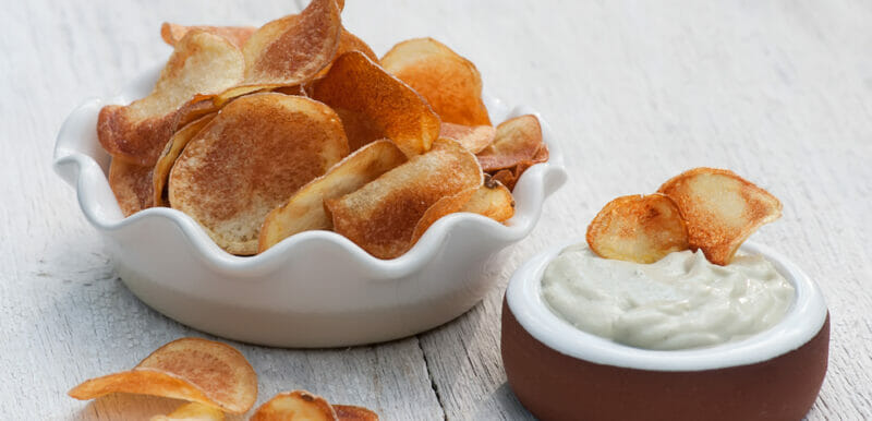 Homemade Potato Chips with Blue Cheese Dip