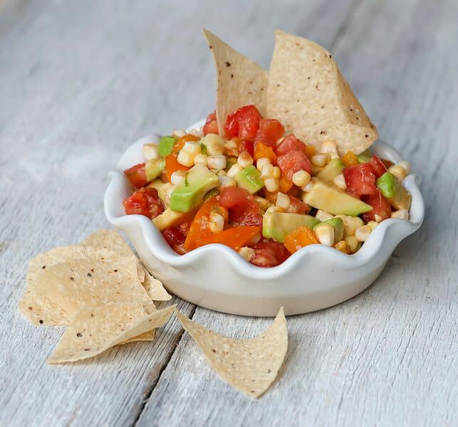 Fresh Corn, Tomato and Avocado Salsa - Framed Cooks