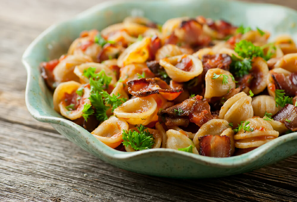 Pasta with Tomato Bacon Sauce - Framed Cooks