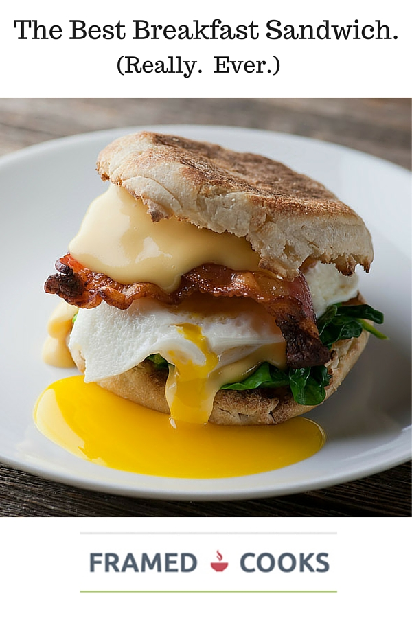 Here's the recipe for the best breakfast sandwich EVER.  Crispy bacon, melty cheese, creamy egg all on a buttered English muffin...spinach optional!
