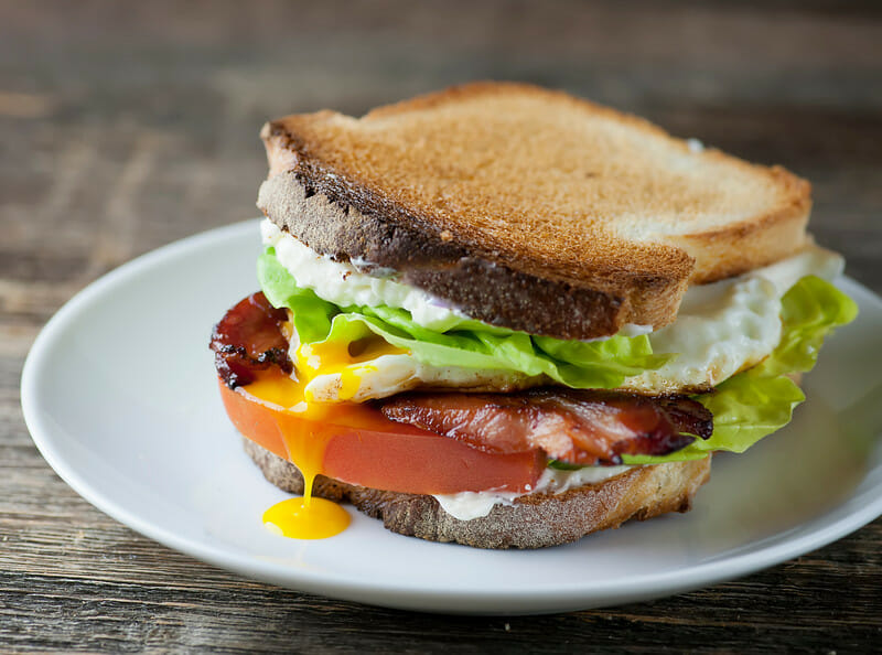 Bacon, Lettuce, Tomato and Fried Egg Sandwiches! - Framed Cooks
