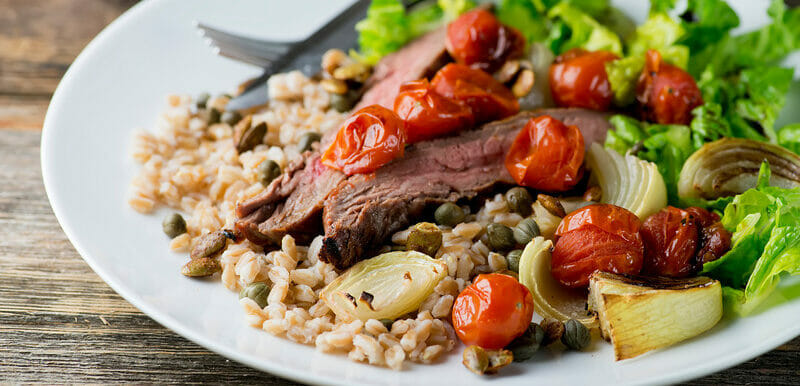 One Bowl Suppers: Steak, Farro and Roasted Tomatoes