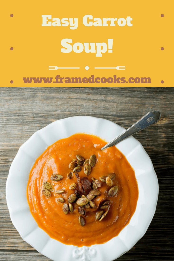 This thick and delicious easy carrot soup could not be simpler to make...or more delicious to eat!  A warm and wonderful and healthy lunch or light supper.