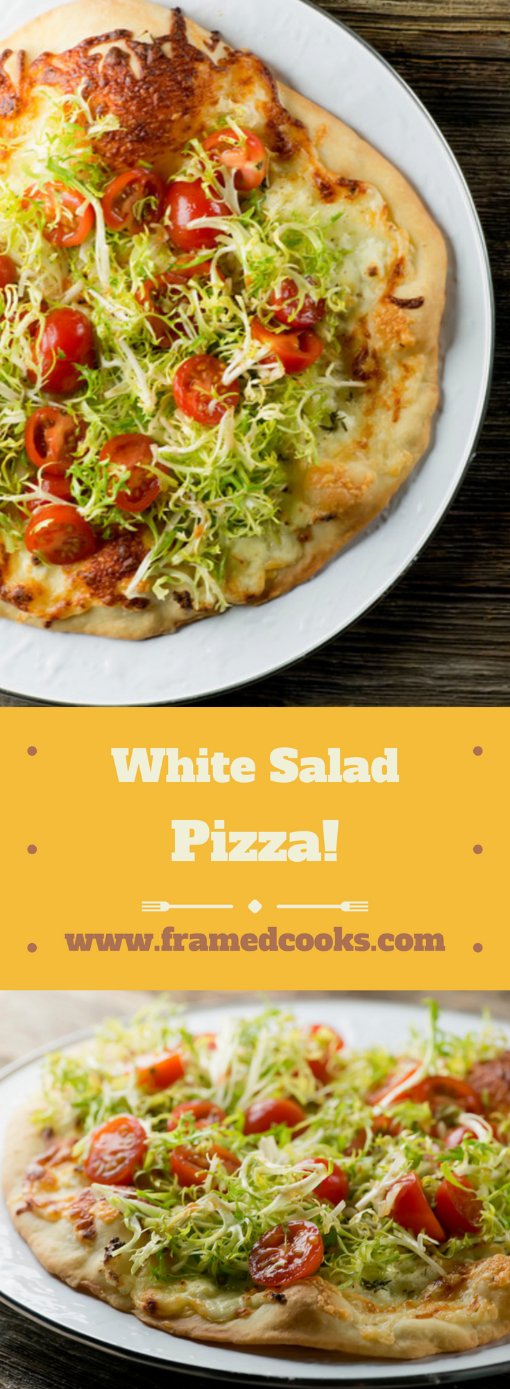Have your pizza and your salad all in one bite with this easy recipe for white salad pizza.   It's the perfect way to have your veggies - and your pizza!