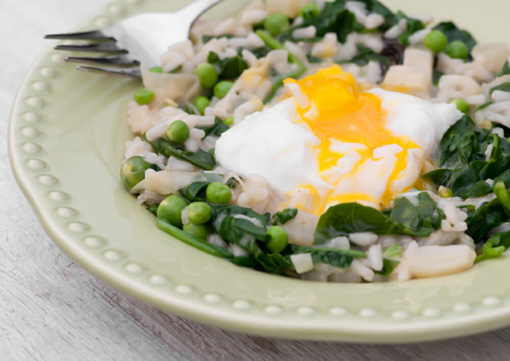 Spring Vegetable Risotto with Poached Egg - Framed Cooks