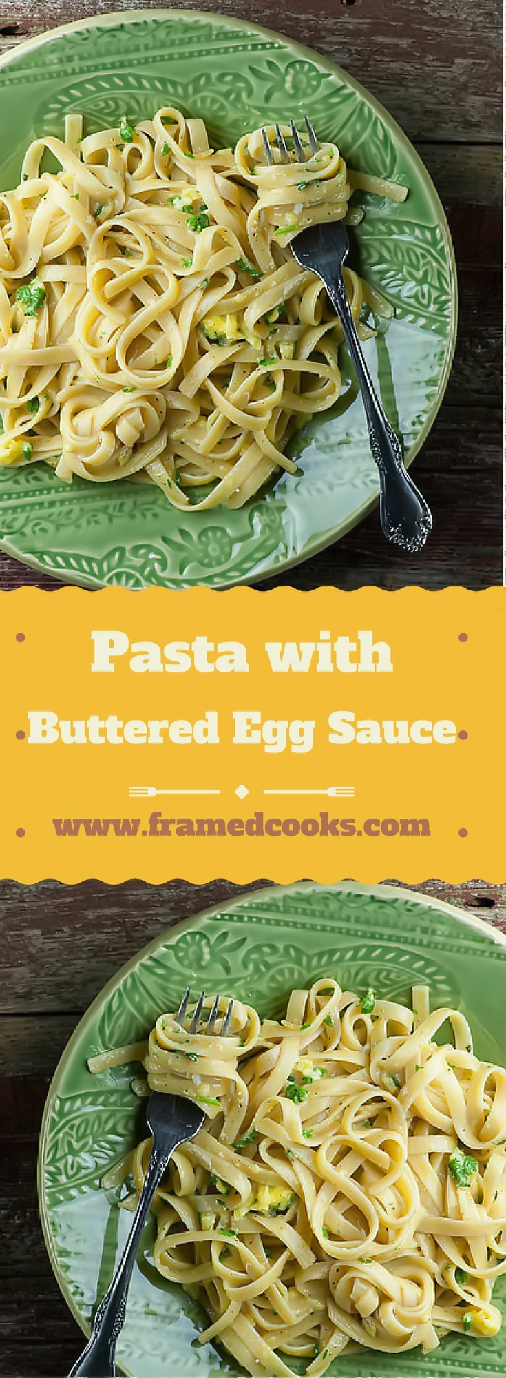 Eggs, butter, pasta and a few herbs come together in a rich and silky sauce that is fast enough for a weeknight and elegant enough for company!