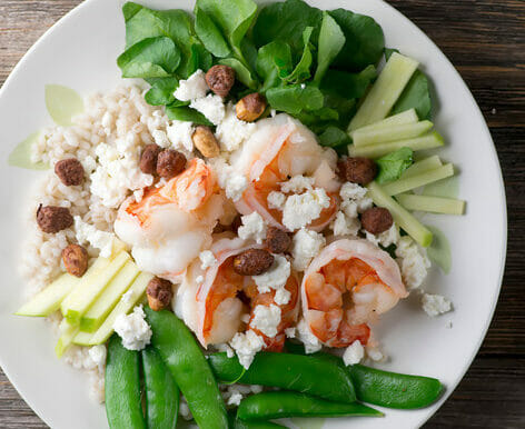 One Bowl Suppers: Shrimp with Watercress, Feta and Sugar Snap Peas