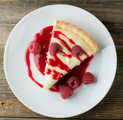 White Chocolate Lemon Tart with Raspberry Sauce