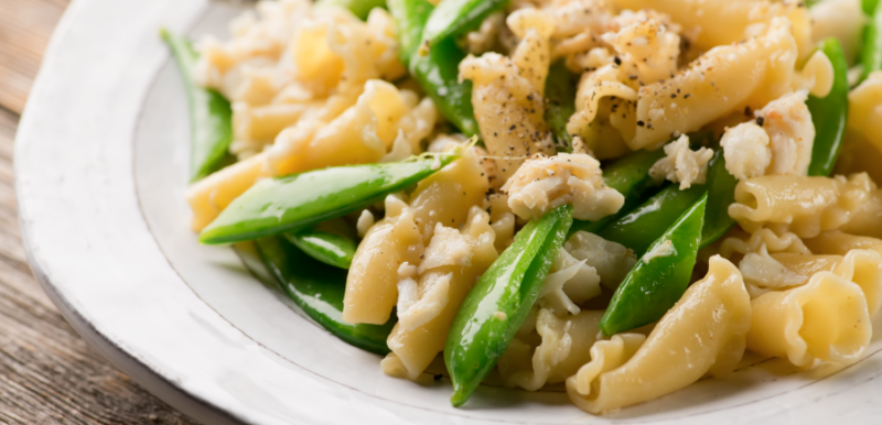 Pasta with Crabmeat and Sugar Snap Peas