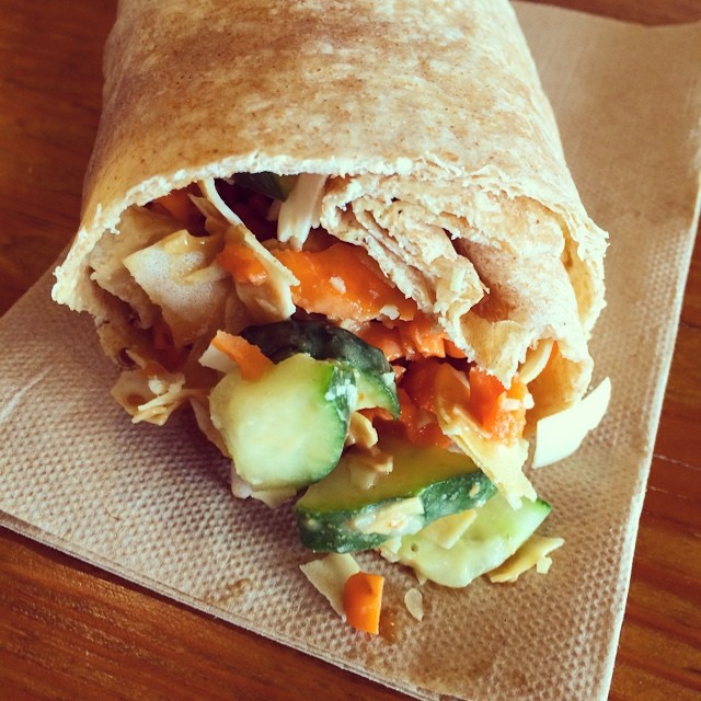 My chicken Thai wrap is exploding with crunchy goodness! #jointhefoodevolution
