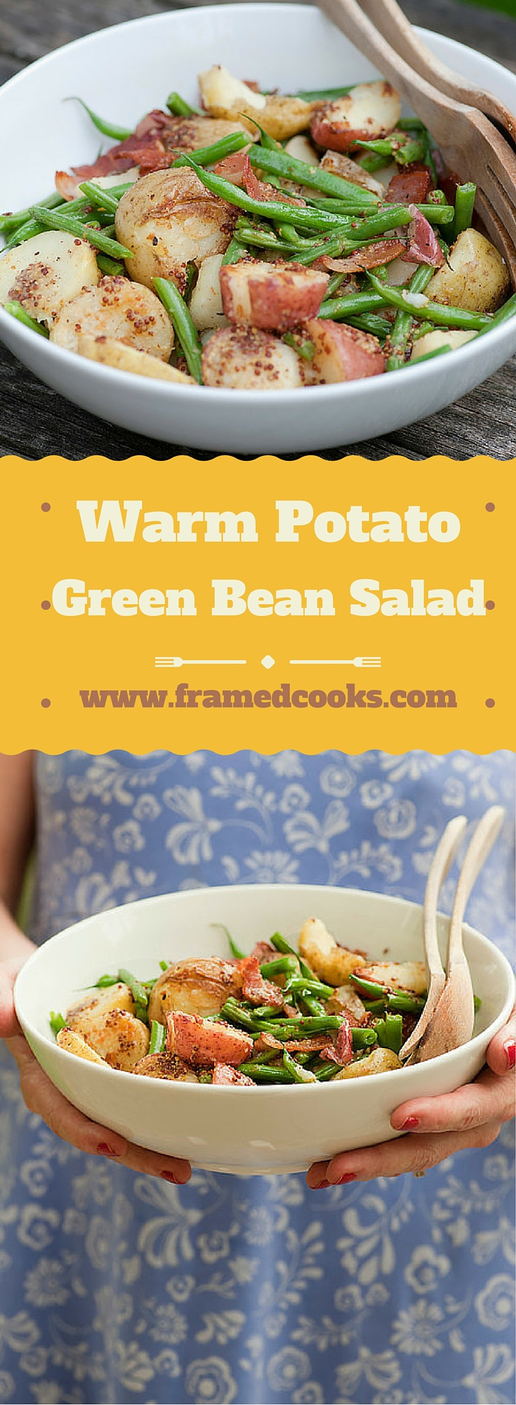 Spiff up your everyday potato salad by adding some fresh green beans and bacon, along with a little mustard to kick it all up!