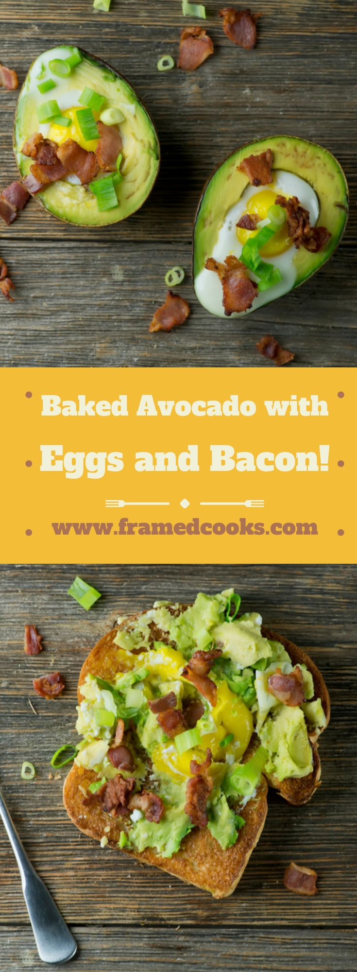 This easy recipe for baked avocado with eggs and bacon cooks up your egg in the creamy center of the avocado for maximum healthy deliciousness!