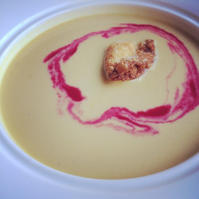 Beet and goat cheese soup with crispy wonton and oh my my.