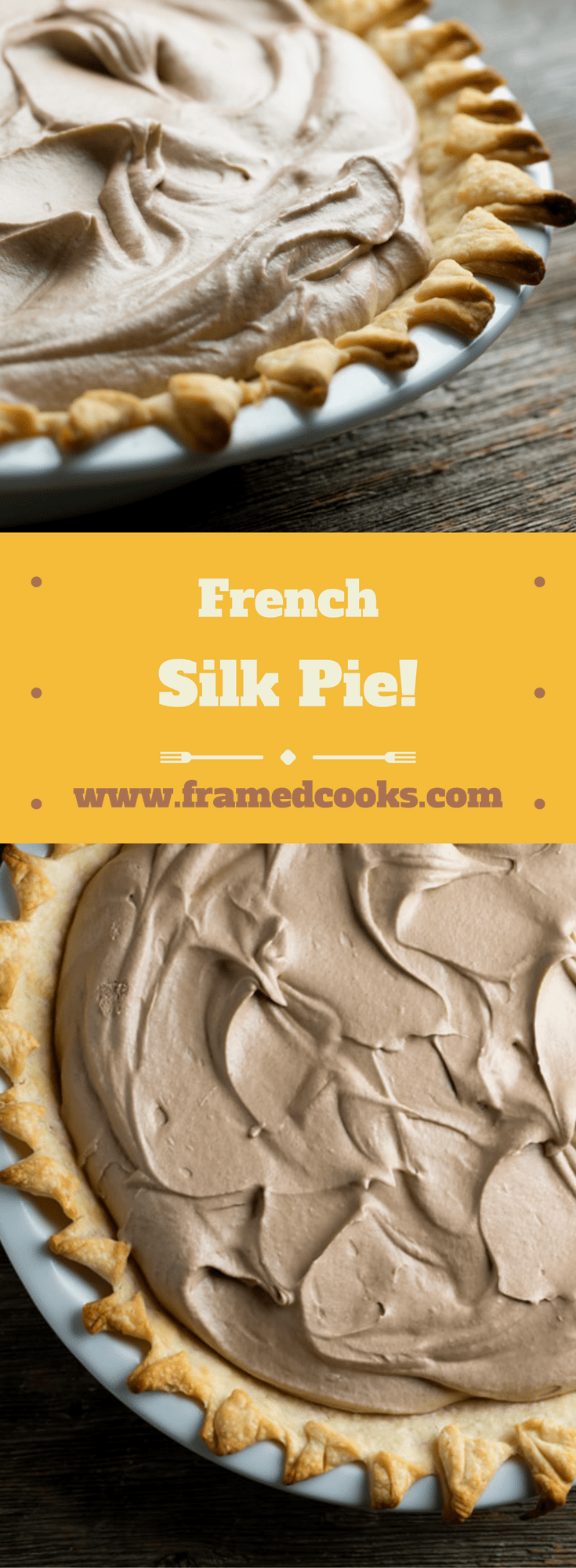 Easy, creamy, dreamy, chocolate deliciousness is all yours in this recipe for French Silk Pie!  This quick dessert is perfect for the holidays.
