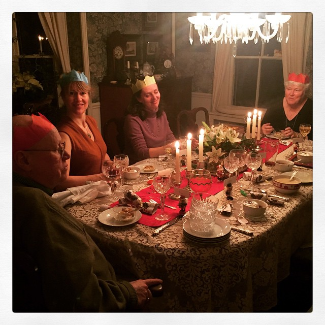 Christmas Eve crackers.  Minus the people hiding from the camera.  You know who you are.