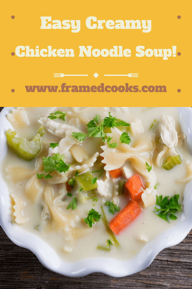 Stir up some easy comfort food in a flash with this recipe for creamy dreamy chicken noodle soup! It's a delicious variation on the old classic.