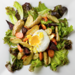 Poached Egg and Roasted Vegetable Salad