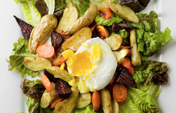 roasted vegetable salad with poached egg