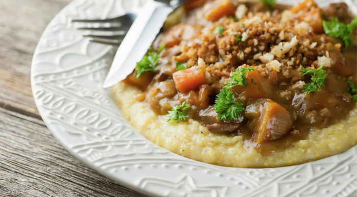 Slow Cooker Beef Stew with Crispy Breadcrumbs