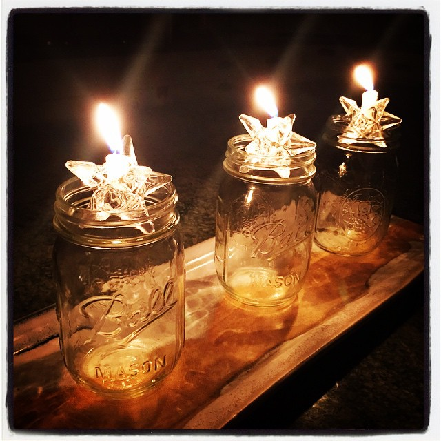 Dinner by the light of the last of the Christmas candles in their Mason jar holders. #epiphany #twelfthnight