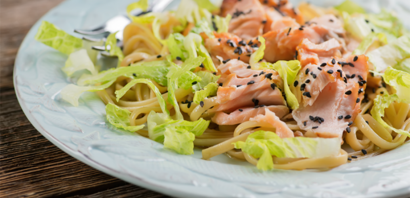 Flaked Salmon with Sesame Noodles