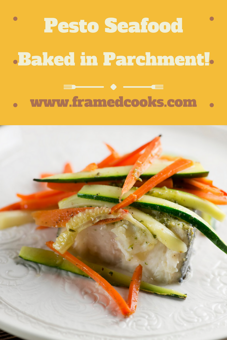 Fish, vegetables and pesto cook up to tender perfection in this recipe for halibut and spring veggies in parchment packages.