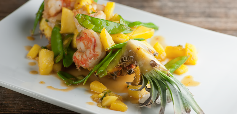 Sweet and Sour Shrimp in Pineapple Boats