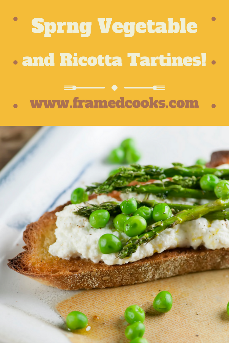 A few spring vegetables, some ricotta and a little crusty bread are all you need to make these pretty tartines!