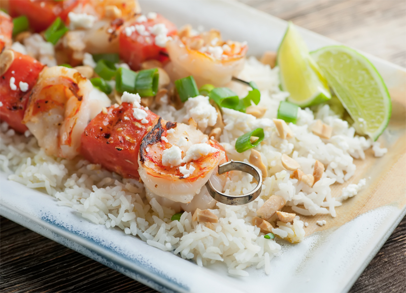 Shrimp And Pineapple Kebabs With Lime Viniagriette Recipes ...