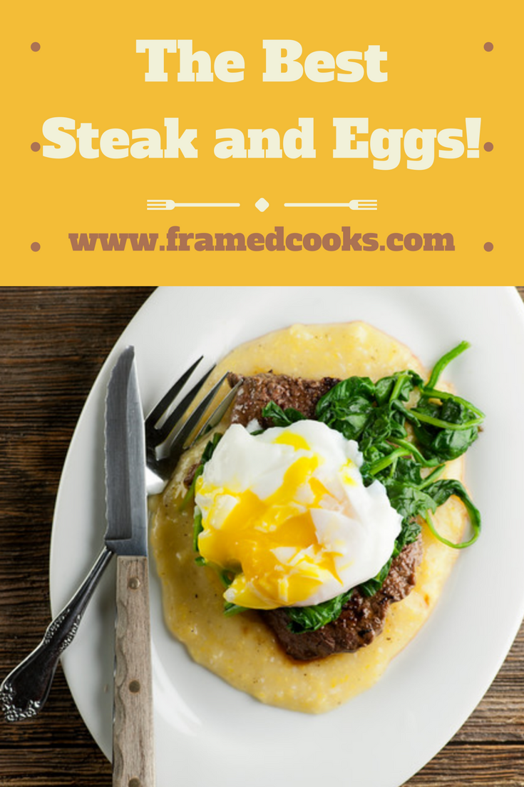 The best steak and eggs ever include a filet mignon steak, some spinach and polenta and one perfect poached egg. Because you're worth it!