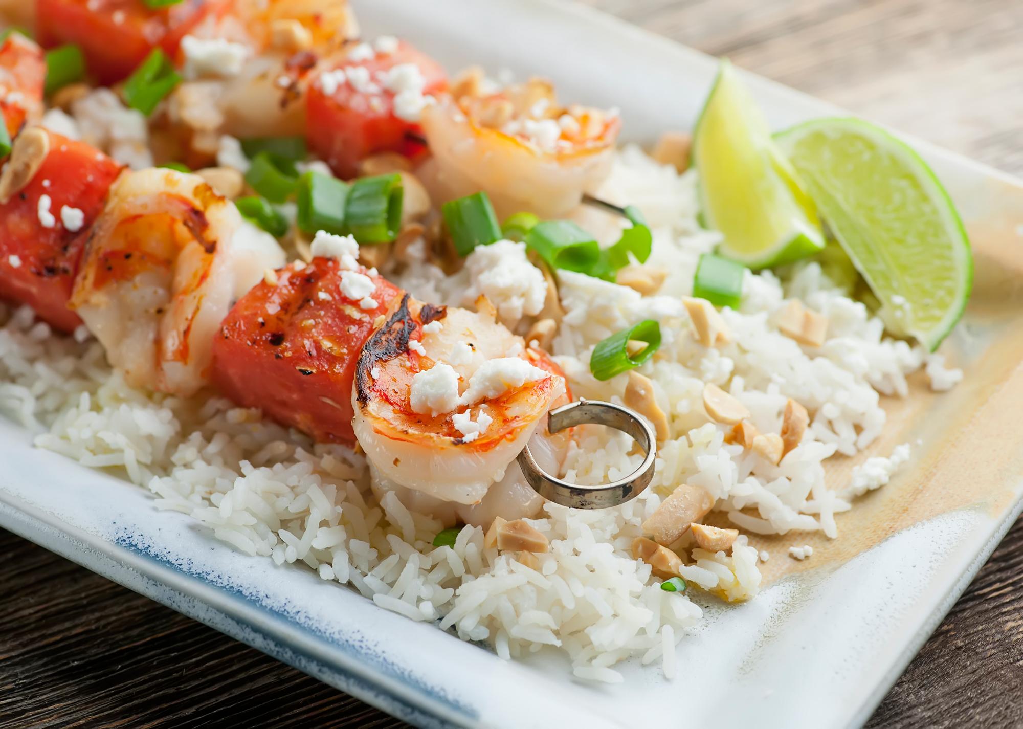 shrimp and watermelon kebabs