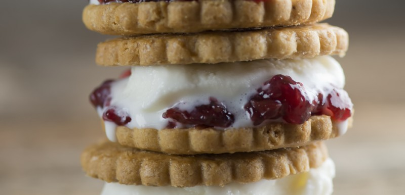 cookies and jam ice cream sandwiches